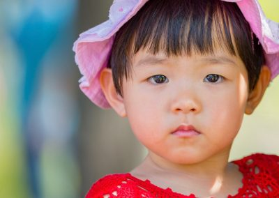 Asian Toddler with Pink hat